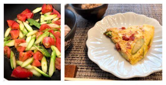 アスパラとトマトのオムレツ