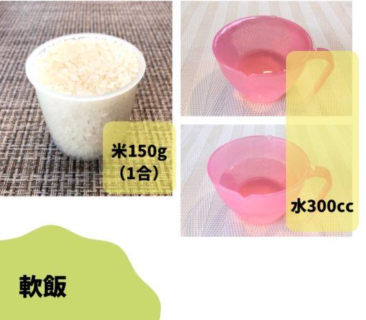 軟飯を作る時の米と水の比率