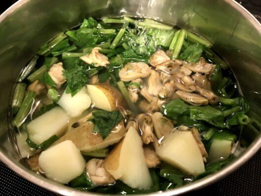 あさりのスープ調理過程