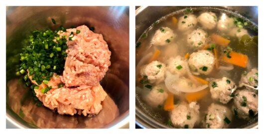 鶏団子スープ調理過程