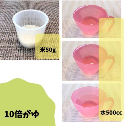 10倍粥を作る時の米と水の比率