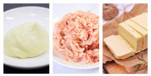 マヨネーズと鶏ミンチとバター