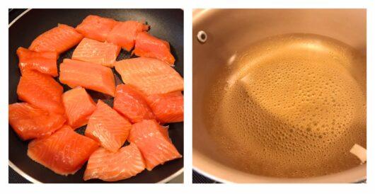 鮭のマリネ調理過程