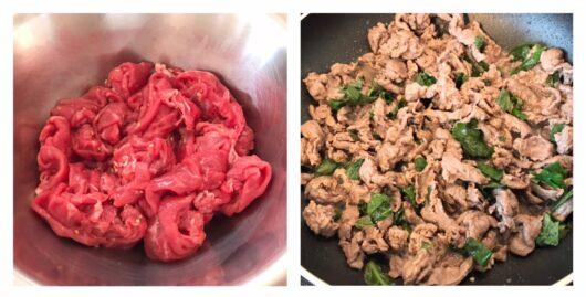 牛肉マリネ調理過程